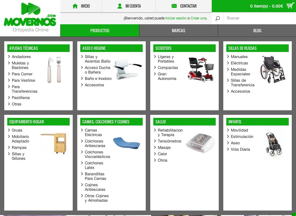Listado de productos movernos.com