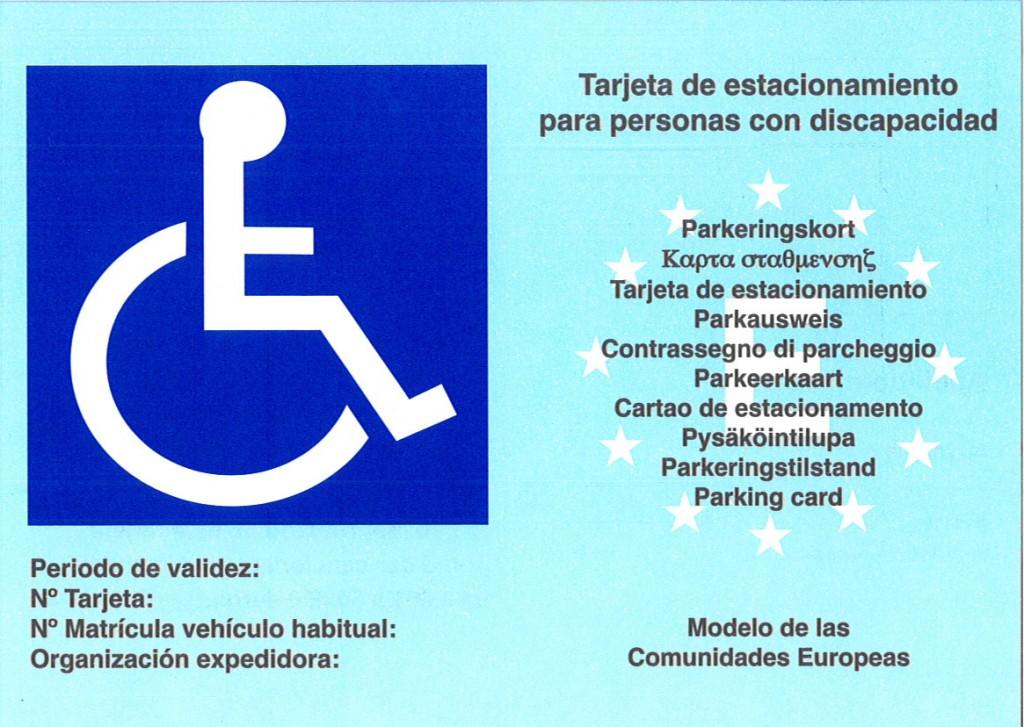 Tarjeta de estacionamiento para personas discapacitadas