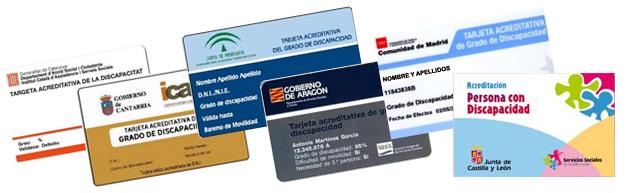 Tarjetas identificativas de grado de discapacidad